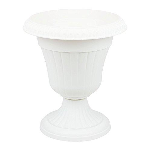 Pflanzpokal dekorative Amphore Pflanzgefäß Schale Vase weiss H 42 cm Blumentopf Milano