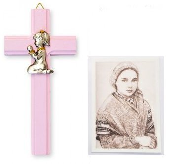 Baptism-Gifts-Pink-Cross-6-with-Praying-Girl-Lourdes-Prayer-Card-Baby-Gifts