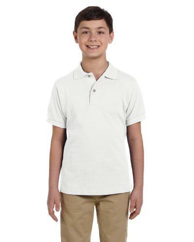 Jerzees 440y Jugend Baumwolle Pique Polo Weiß