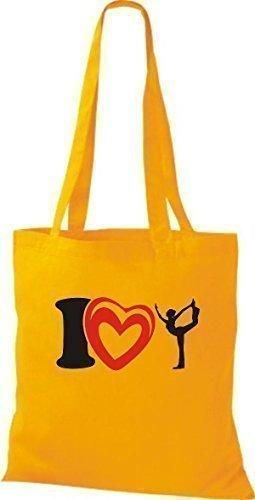 T-shirt Di Stoffa Di Cotone T-shirt I Love Yogo Yoga Ginnastica Color Rosa Dorato Giallo