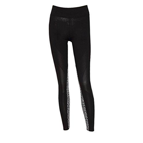 OverDose,Femme Leggings Sport Résille Collants Camouflage Imprimé Color Block Tulle Trousers E