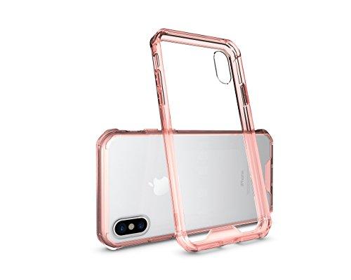 Meimeiwu Anti shock Cover TPU Soft Bumper Case + Transparente Acrylic Custodia Per iPhone 8 - Rose Rosso Rose Rosso