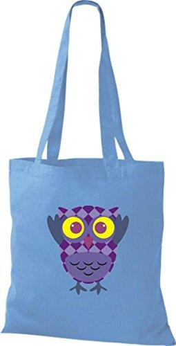 ShirtInStyle Jute Stoffbeutel Bunte Eule niedliche Tragetasche mit Punkte Karos streifen Owl Retro diverse Farbe, natur hellblau