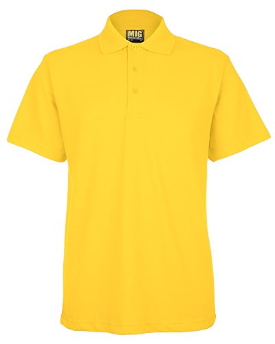 Mens Active Pique Polo T Shirts Sizes XS to 4XL In 8 Colours By MIG - WORK CASUAL SPORTS LEISURE (L - LARGE, YELLOW)