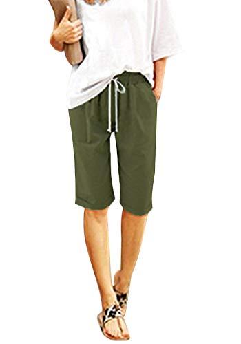 Minetom Damen Sweat Capri-Hose, Sporthose Ladies Open Edge Terry Turn Up Pants B Armeegrün EU Large -