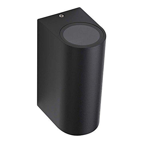 Biard Architect Lampada Bidirezionale da Parete per Esterni (GU10, Colore Nero) - Applique Rotondo Murale - Impermeabile IP44 - Custodia in Alluminio - Iluminazione Giardino