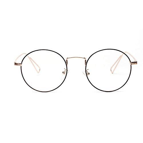 BAACHANG Runde Craft Foot Flat Spiegelgläser, klare Gläser, Unisex (Farbe : Golden)