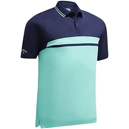 Callaway Golf 2019 Herren Kontrastfarbenes Blockiertes Pique Golf Polo Shirt Aruba Blue XL -