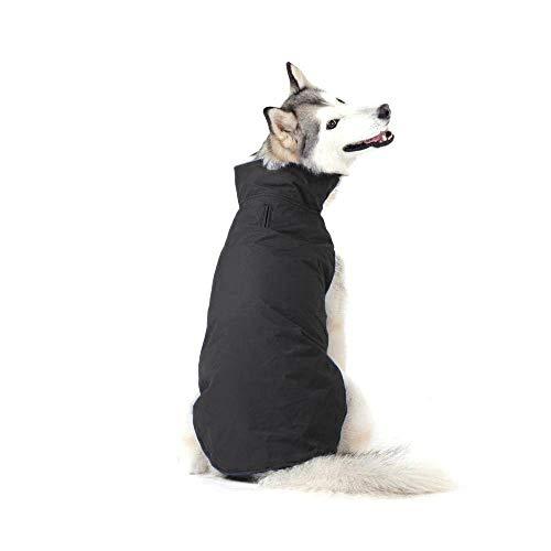 Bwiv cappotto invernale per cani grandi giubbotto impermeabile foderato in pile con apertura per guinzaglio (6xl, nero)