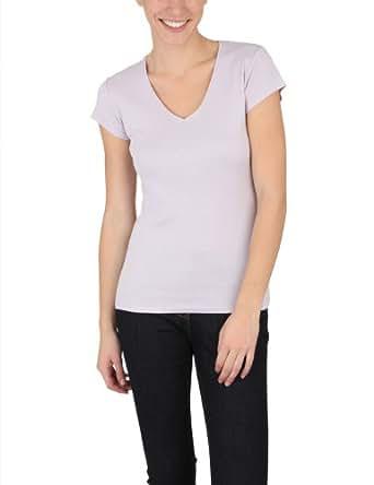 Miss Helen - T-shirt col V en coton bio - Femme - Taille : 36 - Couleur : Mauve