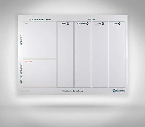 Vi-Board Prioritization Scrum/Whiteboard: beidseitig beschreib- & abwischbares mobiles Whiteboard, einroll- & wiederverwendbar, Vorderseite: Scrum Vorlage, Rückseite: Whiteboard, Gr.: ca. 85 x 118 cm (Software-entwicklung-management)