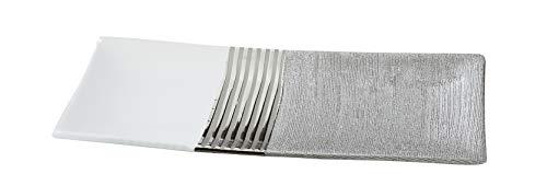 Dreamlight Moderne Dekoschale Obstschale Schale aus Keramik weiß/Silber Länge 31 cm Breite 14 cm