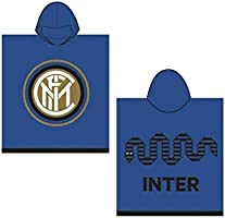 Inter 8916 020 2120 - Poncho de Rizo Esponjoso, 100% algodón, Color Negro/Azul, de 50 x 50 x 1 cm