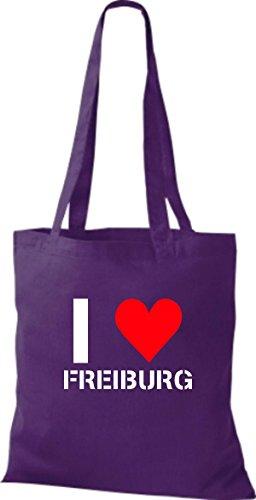 ShirtInStyle Stoffbeutel I LOVE FREIBURG Deine Stadt diverse Farbe purple