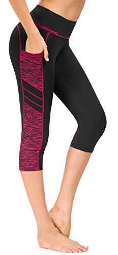 Flatik Damen Netzoberfläche Sport Gym Yoga Laufen Fitness Leggings Hose, Schwarz Rot(3/4 Capri), M