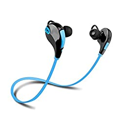 Defloc Qy7 Bluetooth 4.1 Lightweight Wireless Sports Headphones with Built In Mic Compatible for iPhone, iPad, Samsung and Android Smartphone-Blue