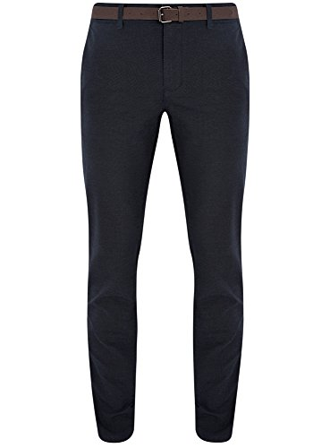 oodji Ultra Uomo Pantaloni Chino in Cotone, Blu, IT 46 / EU 42 / M
