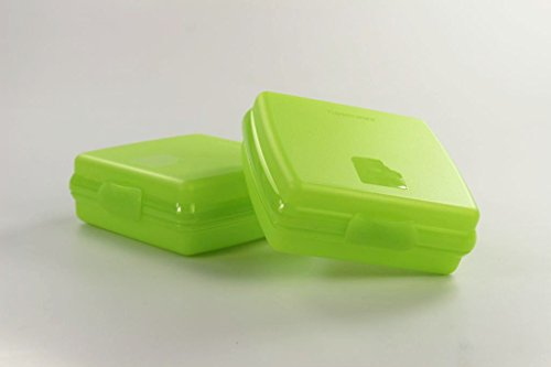 TUPPERWARE To Go Sandwich-Box (2) Pausenbrotbehälter Brotbox A126 limette 26571