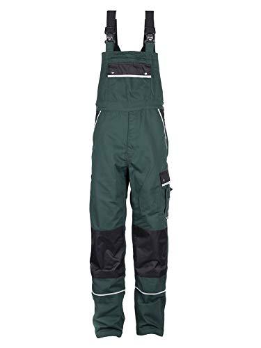TMG® Komfortable Herren Latzhose | Männer Arbeitslatzhose mit Reflektoren und Taschen für Kniepolster | Garten- und Landschaftsbau | Grün 58