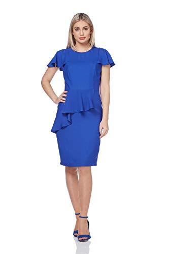 Roman Originals Damen Shift-Kleid mit Rüschen in Blau Größe 38-48 - Royal Blue - Größe 38 - Kleid Shift Blue Royal