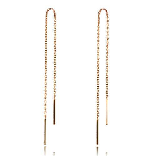 925 Sterling Silber Stäbchen Durchzieher Ohrringe Lange Quaste Einfädler Ohrringe für Frauen Mädchen (Roségold)