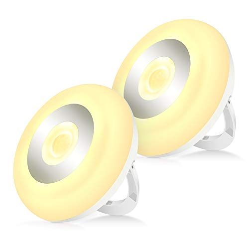 Luz de Noche LED con Sensor de Movimiento, Magntica, Lámpara de Noche Inalámbrica de Pilas para Niños para Armario, Pasillo, Escaleras, Cocina, Gabinete, Pasillo Blanco Cálido, 2 Unidades