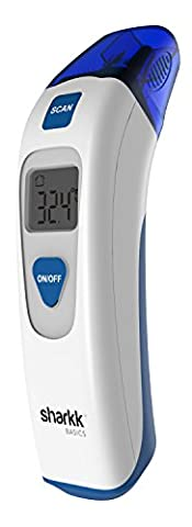 Sharkk Basics oreille et thermomètre frontal infrarouge Mode Scan Double écran LCD Thermomètre numérique avec rappel de mémoire et données Groupe de rangement