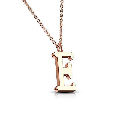 ette Rosegold - Buchstaben-ANHÄNGER E Halskette in Rosegold - Alphabet Kette Rosé - aus Edelstahl - Schmuck für Damen, Kinder & Herren ()