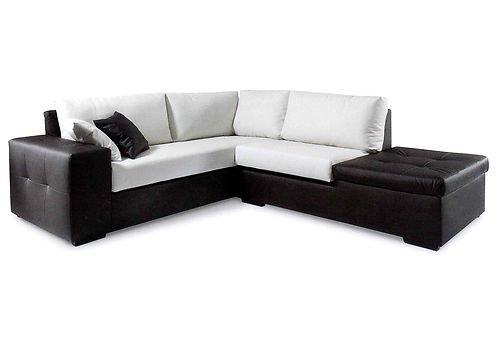 Canapé d'angle en Simili Cuir avec étagère, Design Moderne, fabriqué en Italie, Couleurs Assorties : Blanc, Noir, Beige, Tourterelle