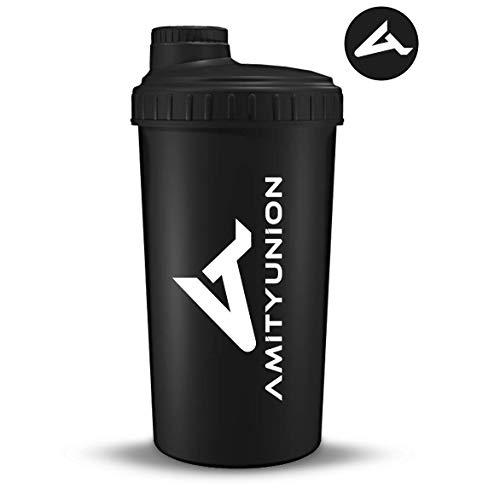 """Eiweiß Shaker \""""Viisi\"""" 900 ml ORIGINAL Fitness Mixer - Protein Shaker auslaufsicher - BPA frei, Mit Skala für cremige Whey Proteinpulver Shakes, Protein Isolat und BCAA Konzentrate in Schwarz"""