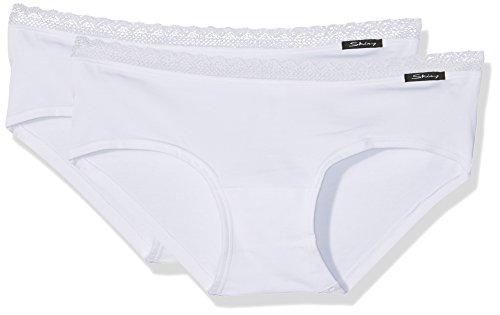 Skiny Damen Panties Advantage Lace Panty 2er Pack, Gr. 40, Weiß (WHITE - Weißes T-shirt Pack Frauen