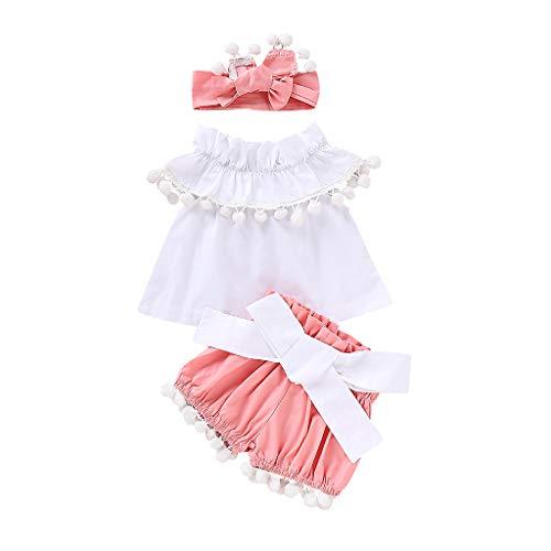 BeautyTop 3-24 Monate Baby Kleidungsset Baby Mädchen Outfits Set Ärmellos Rüschen T-Shirt Tops + Bowknot Shorts + Haarband 3Stück Toddler Kinder Kleidungs Dreiteiliger Anzug