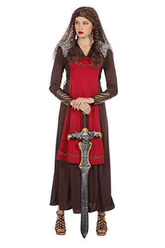 The Fantasy Tailors Wikinger Damen-Kostüm Einteilig Kleid lang, braun rot mit Fell Karneval Fasching Verkleidung Größe 44 Braun