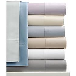 4 juegos de sábanas de satén de algodón de 250 hilos/cm², 100% algodón peinado, de 3 piezas (sábana encimera de 230 x 260 cm + 2 fundas de almohada de 50 x 76 cm), varios colores disponibles
