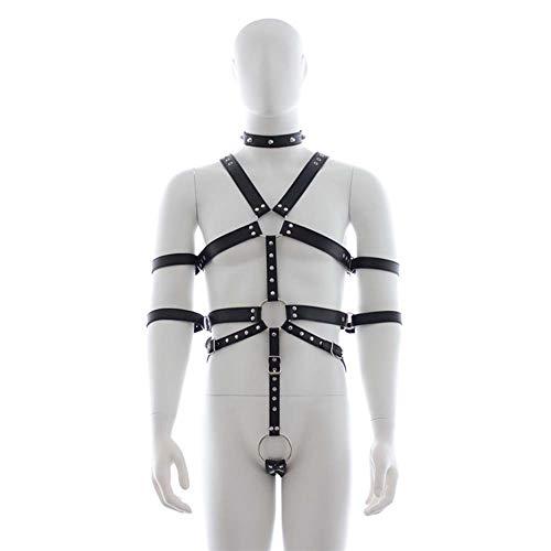 LOPLOP Pu Leder Bindegurt Gebündelte Kleidung Mit Kragen, Macho Gebündelt Anzug Versuchung Kostüm, Sexuelle Dessous Der (Macho Mann Kostüm)