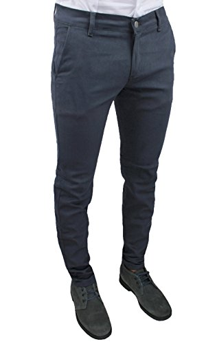Pantaloni uomo sartoriali made in italy grigio slim fit aderenti invernali casual eleganti (44)