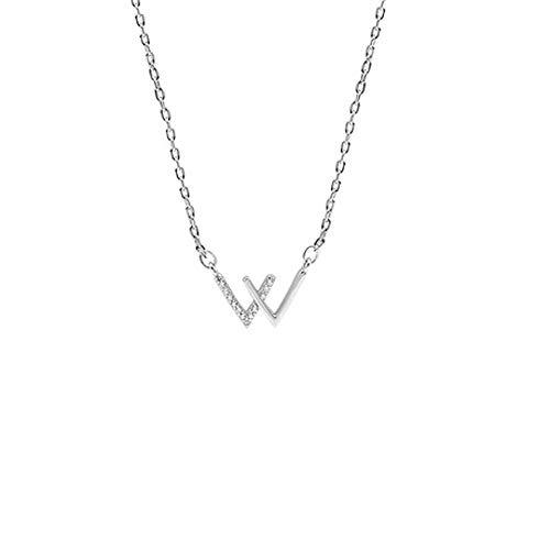 hxy Halskette, S925 Sterling Silber Doppel V-förmige Halskette Einfache weibliche Modelle Schlüsselbein Halskette