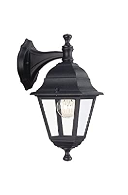 Massive LIMA Down Wall Lantern 220-240 V 60W E27 Bulb - Black (Lamp Excluded) - cheap UK light shop.