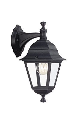 Massive wall light - outdoor lighting (wall, ac, e27, black, aluminium, glass, ip44, 220-240 v)