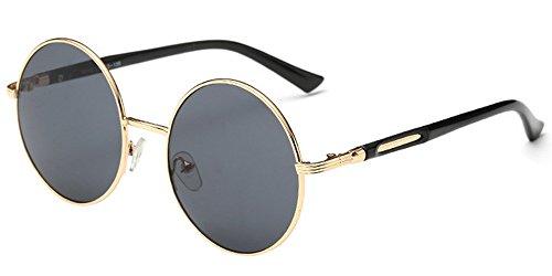 BOZEVON Retro Style Circle Sonnenbrille Runde Linse für Damen