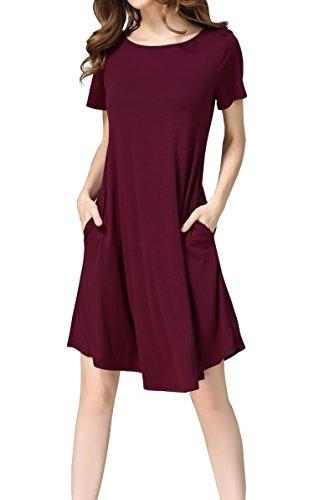 Hibluco Damen Freizeit Lose Tunika T-Shirt Kleid Mit Tasche gefunden ... 8546d1bee9
