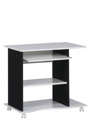 MAJA-Möbel 4024 3537 Computertisch, weiß uni - schwarz, Abmessungen BxHxT: 80 x 75 x 50 cm