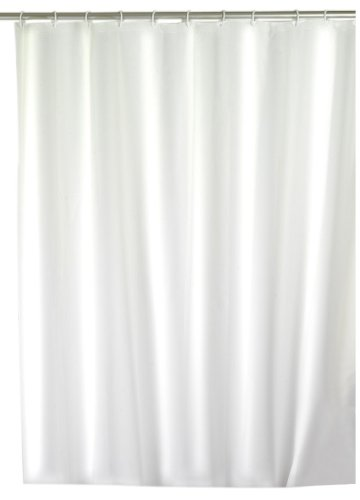 Wenko 19104100 Duschvorhang Uni weiß - wasserdicht, pflegeleicht, Kunststoff - Peva, weiß