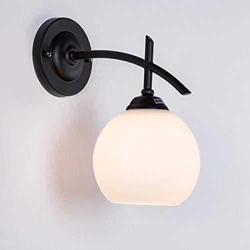 Ruitx Wandleuchte 1 Licht Vintage Wandleuchte mit Globe Glas, Badezimmer Vanity Light in Mattschwarz für Bad & Schlafzimmer (Für Licht Globes Vanity)
