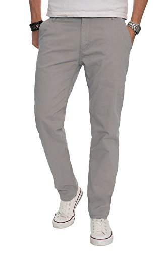 A. Salvarini Herren Designer Chino Stoff Hose Chinohose Regular Fit AS016 [AS016 - Hellgrau - W38 L32]