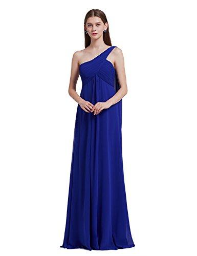 Ever Pretty Damen Lange One Shoulder Chiffon Abendkleider Festkleider Größe 38 Saphirblau