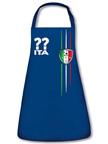 Golebros Italien 3209 Fussball Fan Unisex Grillschürze Kochschürze Latzschürze Küchenschürze Blau