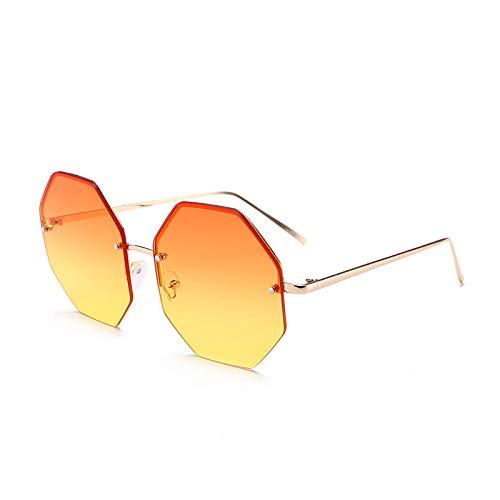 kamier Europäische und amerikanische mode persönlichkeit metall achteckige brille stück ozean stück sonnenbrille hellgelb figur
