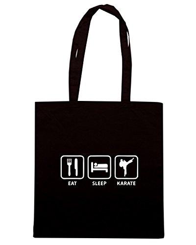T-Shirtshock - Borsa Shopping TAM0030 eat sleep karate hoodie dark Nero