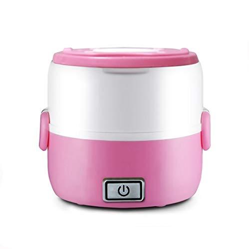 Arroceras Mini Olla arrocera 1.0L, vaporizador de Viaje portátil, Calentador multifunción, calefacción eléctrica, Caja de Almuerzo Adecuada para 1-2 Personas Calentadores de arroz (Color : Pink)